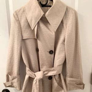 Gucci Beige GG Monogram Double Breasted Coat